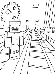 Человек майнкрафт возле железнодорожных путей