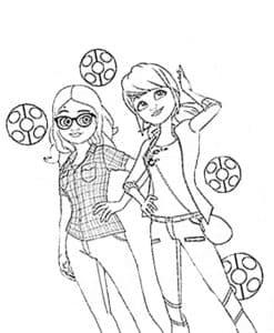Маринет и подружка раскраска
