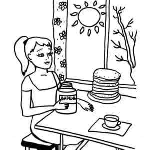 Женщина накрывает стол
