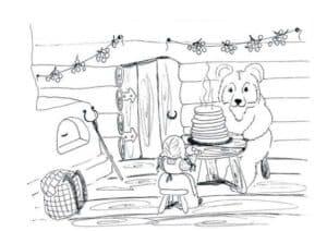 Медведь с блинами за столом