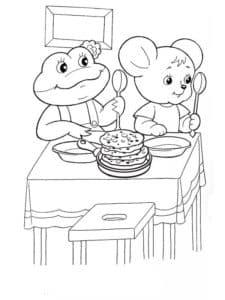 Мышка и лягушка кушают