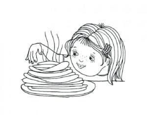 маленькая девочка и блинчики
