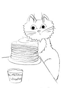котик за столом с блинами