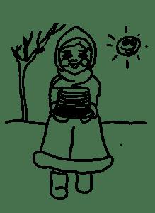 Девочка несет блины раскраска
