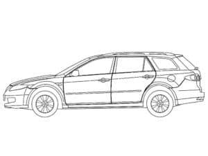 Детская раскраска автомобиль мазда