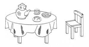 стол с едой и стул