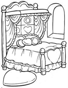 кровать с сердечками