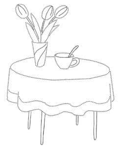 раскраска по точкам стол и ваза с цветами