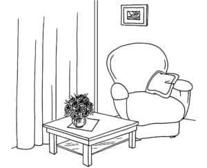 кресло и стол с картиной