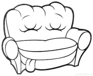 кресло с закрытыми глазами и языком