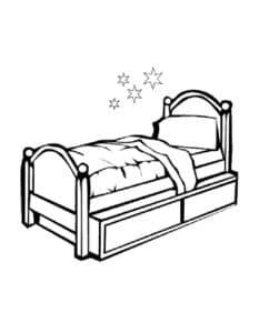 кровать односпальная раскраска