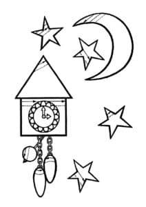 настенные часы и месяц
