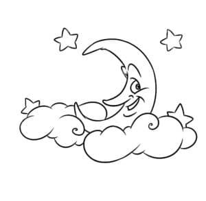 молодой месяц в облаках