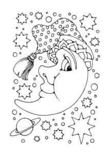 месяц в шляпе со звездами