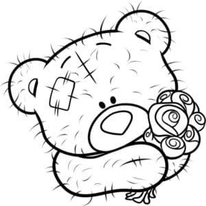 плюшевый медвежонок с розами