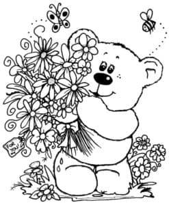 медведь и цветы