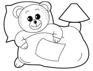 медвежонок с подушкой и одеялом