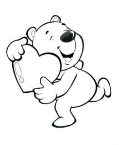 медвежонок бежит с сердечком