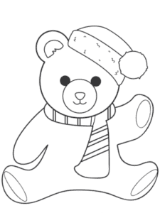 плюшевый медвежонок в шарфе и шапке