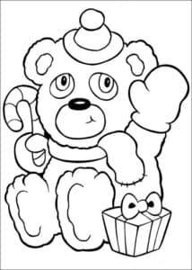 медвежонок с конфетой и подарком