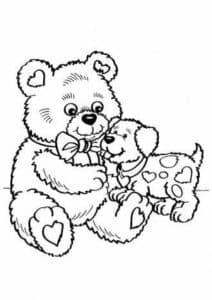 плюшевый медвежонок с собачкой