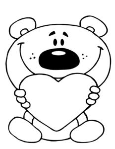 мультяшный медвежонок держит сердечко