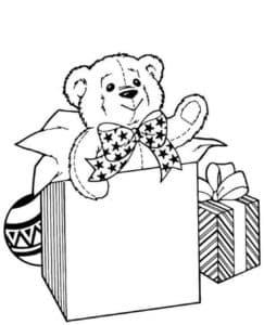медвежонок и коробки подарков