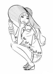 модница в большой шляпе