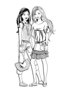 две девушки раскраска для ребенка