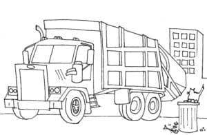 мусоровоз и кот на мусорном баке