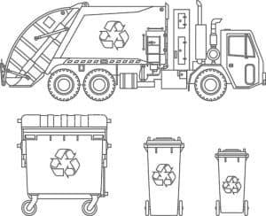 мусоровоз и мусорные баки