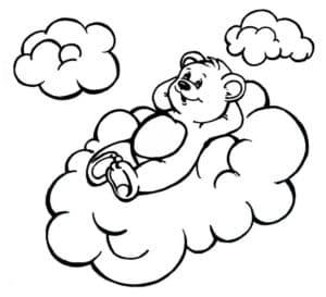 медведь лежит на облаке