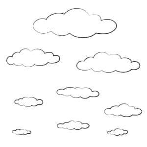 раскраска детская облака