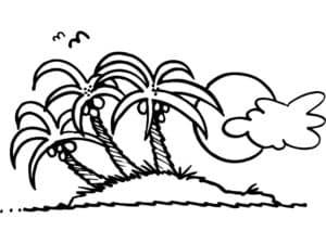 пальмы солнце и облака
