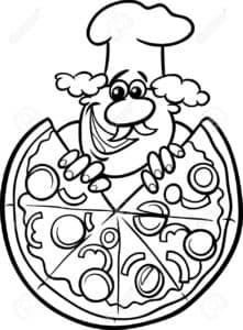 усатый повар с пиццей