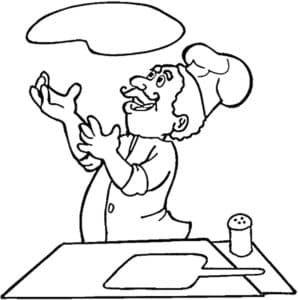 повар подкидывает тесто