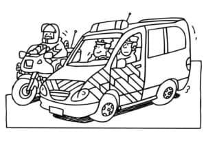 Полицейские на мотоцикле и машине
