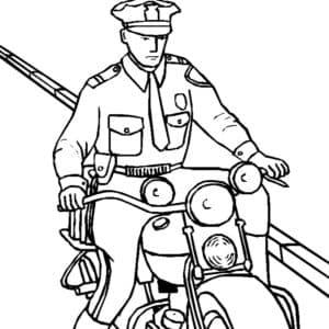 Полицейский на мотоцикле раскраска