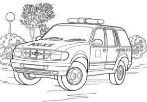 Полицейский внедорожник раскраска детская
