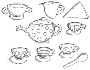 чайник с кружочками и много чашек
