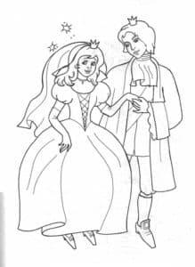 Принц обнимает принцессу