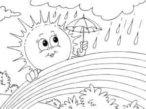 Солнце под зонтом и радуга