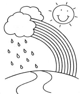 Дождь и радуга раскраска