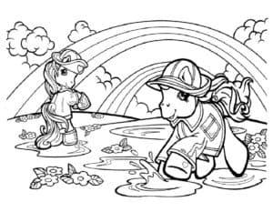 лошадки в луже