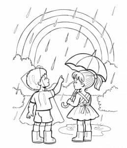 Дети дождь и радуга