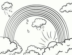 Облака дождь и радуга