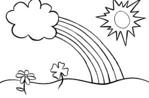 цветы и радуга с облаком
