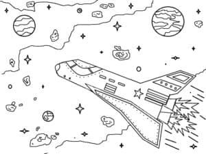 Ракета летит среди звезд