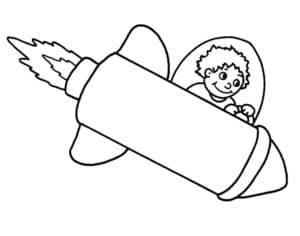 Мальчик управляет ракетой