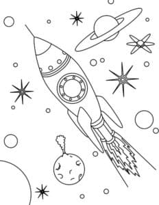 Ракета среди красивых планет